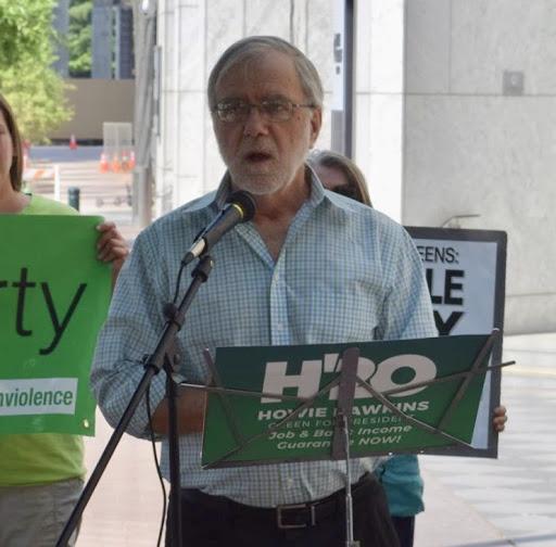 Howie Hawkins protesting Duke Energy