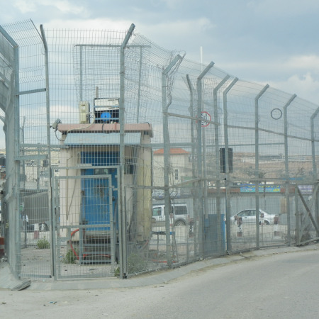 Image of check point between Israel and Palestine.