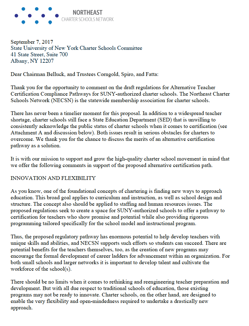 Necsn Public Comments On Alternative Teacher Certification