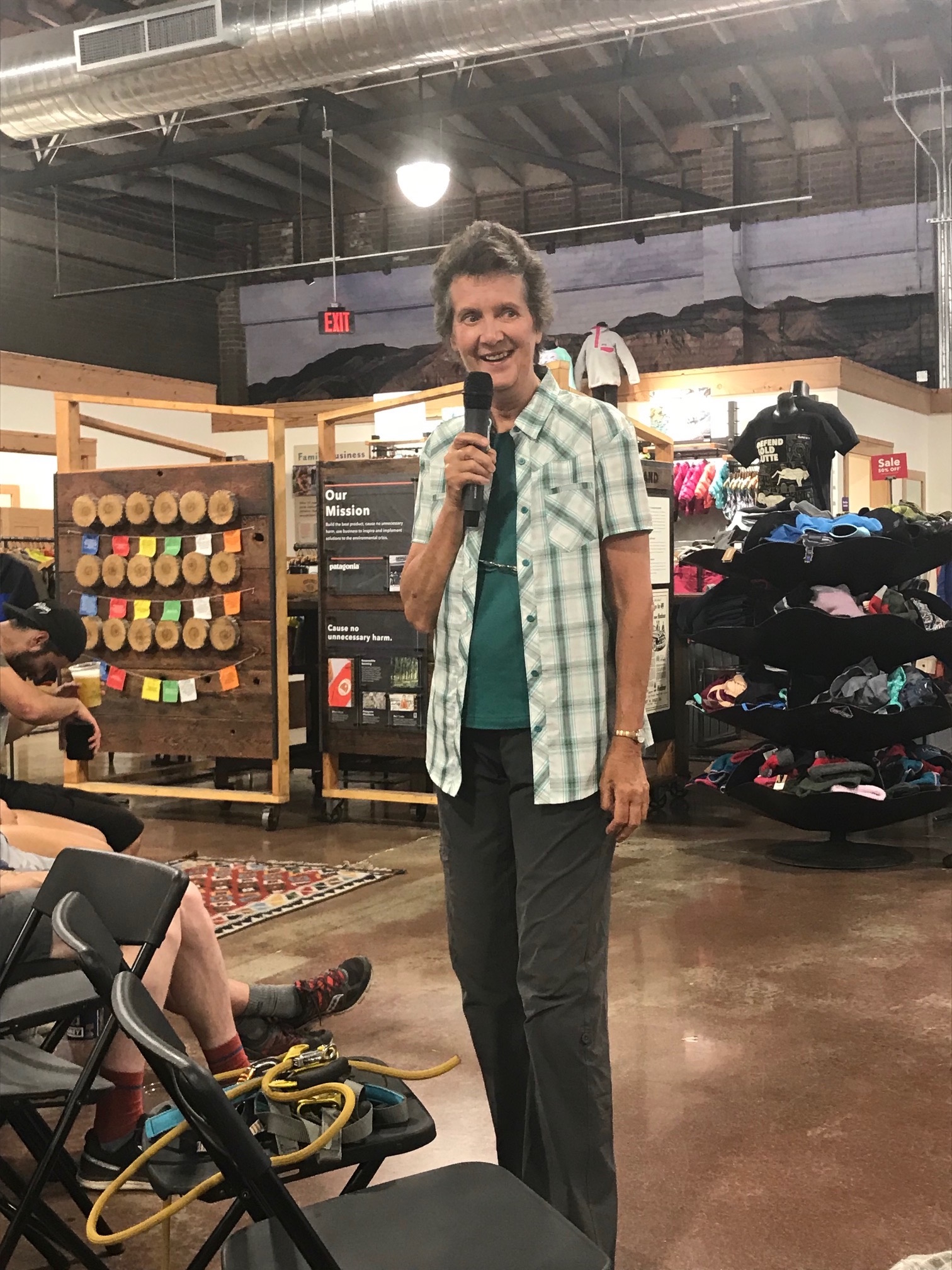 Deidre Wolownick Talks to Crowd at Patagonia in Reno