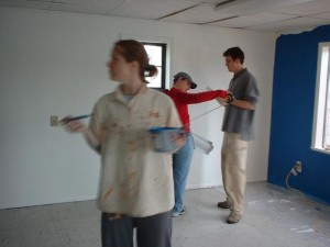 Friends paint our first location.