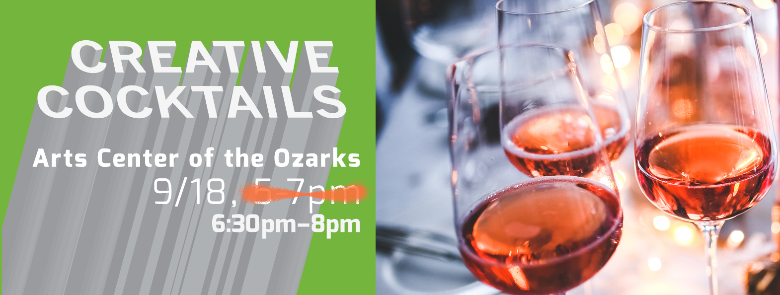 Creative Cocktails September 18 at the Arts Center of the Ozarks