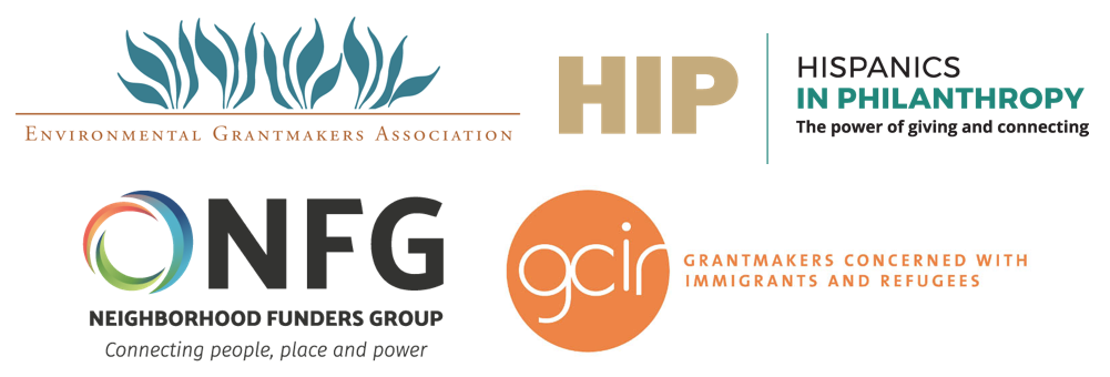 Logos of Environmental Grantmakers Association, Hispanics in Philanthropy, Neighborhood Funders Group, and Grantmakers Concerned with Immigrants and Refugees.