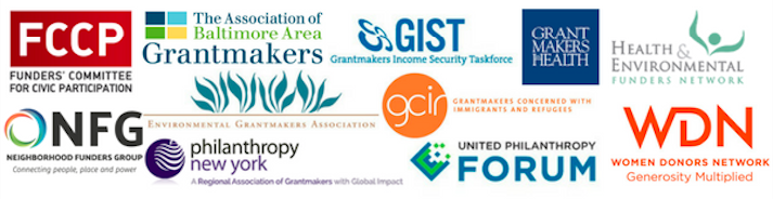 Logos of Funders' Committee for Civic Participation, The Association of Baltimore Area Grantmakers, Grantmakers Income Security Taskforce, Grantmakers in Health, Health & Environmental Funders Network, Neighborhood Funders Group, Environmental Grantmakers Association, Philanthropy New York, Grantmakers Concerned with Immigrants and Refugees, United Philanthropy Forum, and Women Donors Network.
