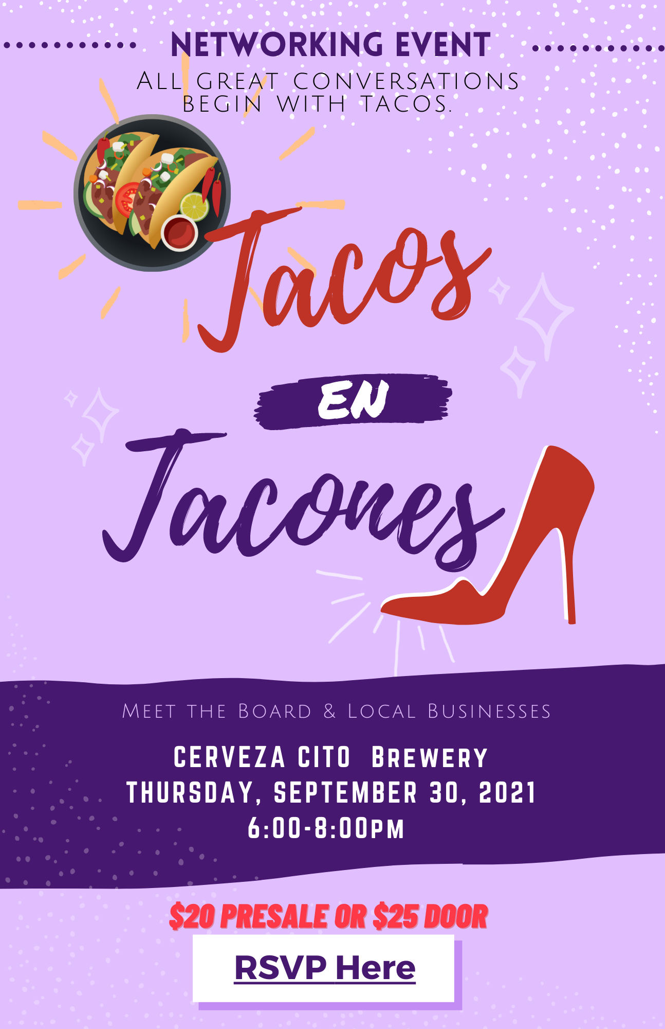 flyer tacos en tacones 9-30-21