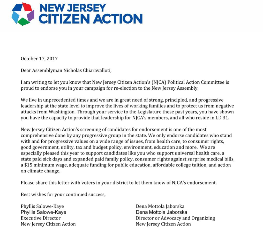 Endorsement By The New Jersey Citizen ActionS Njca Political