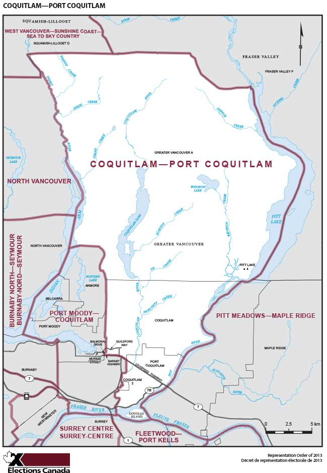Coquitlam-Port Coquitlam Riding Map