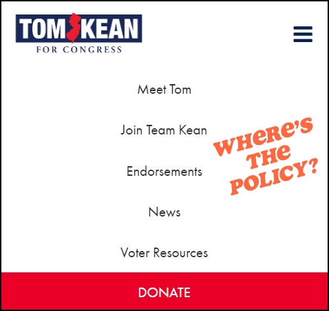 Kean, Jr. Website, No Polciy