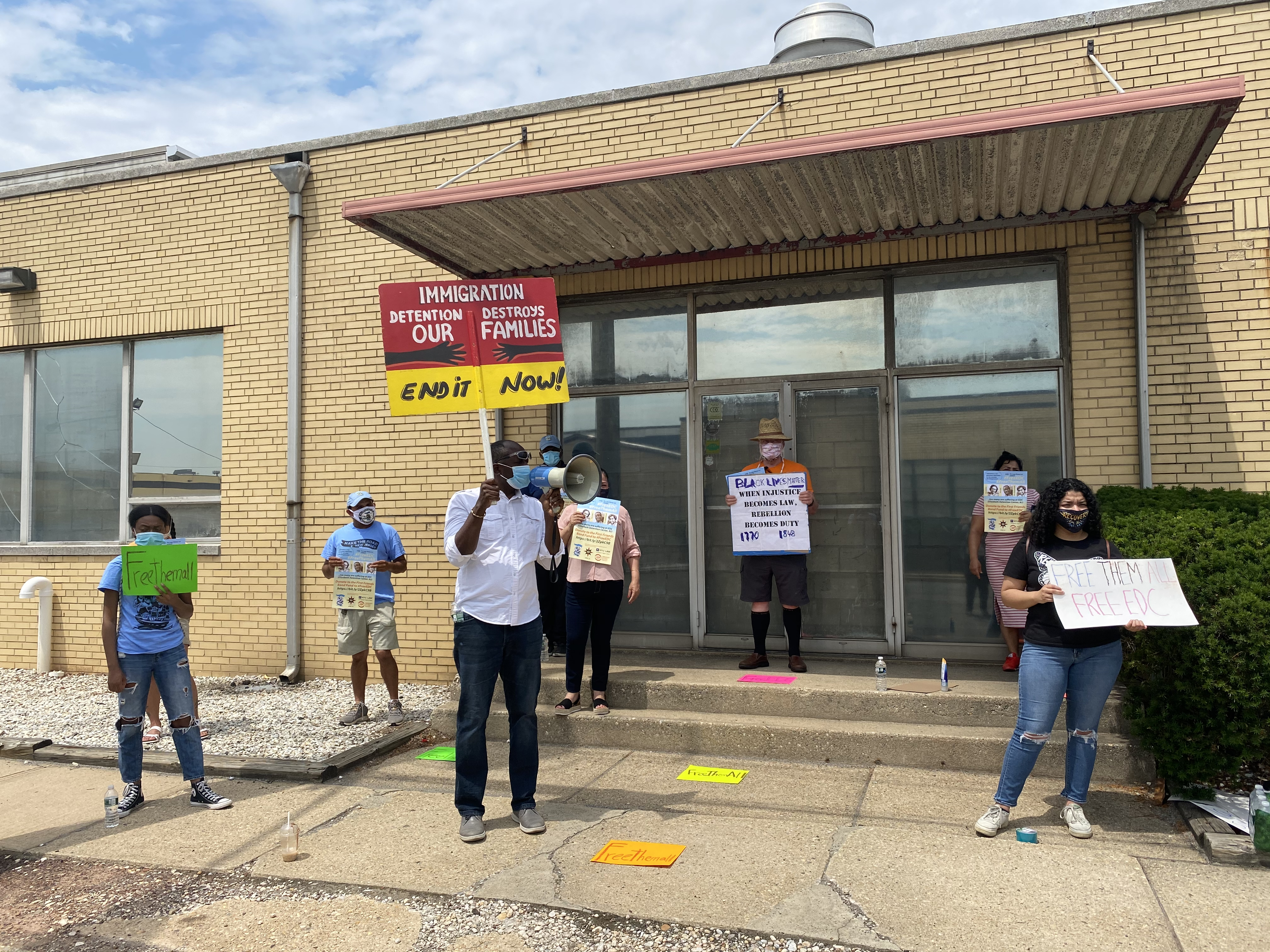 Serges leads a FreeEDC Protest in 2020