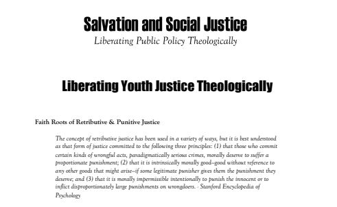 Salvation and Social Justice: Liberating Youth Justice Theologically