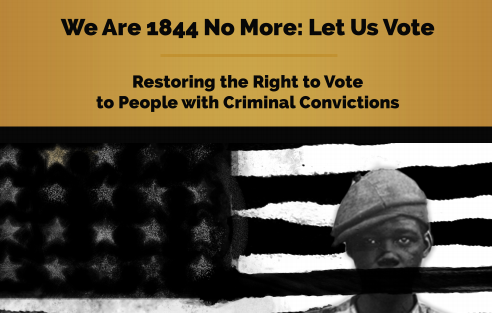 Today, nearly 175 years later, though legal slavery has been abolished and New Jersey no longer explicitly prohibits Black people from voting, New Jersey continues to deny voting rights to people with criminal convictions.