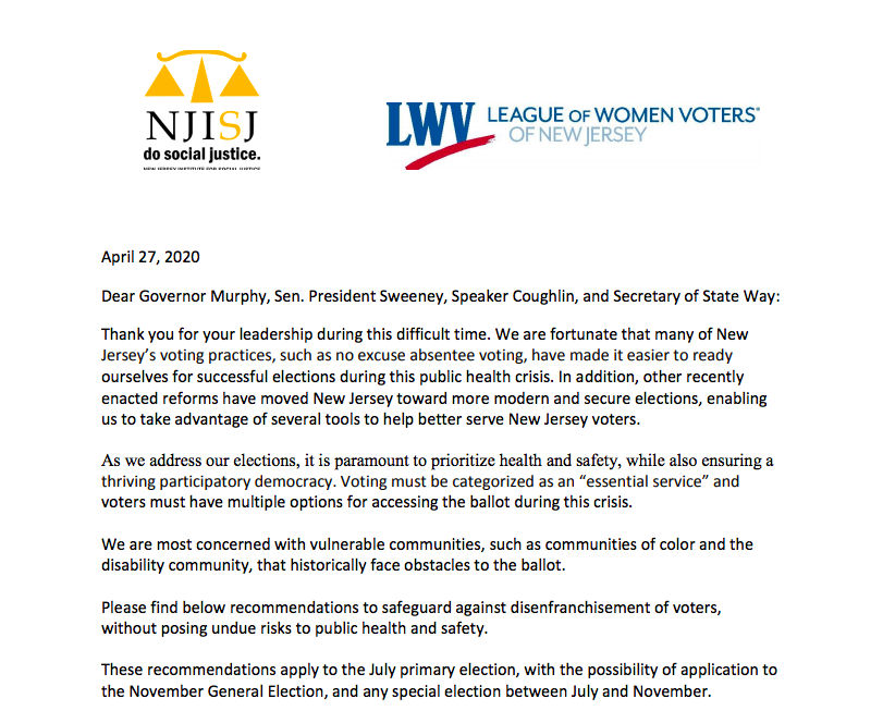 Click here to read our full letter to Governor Murphy and other elected officials