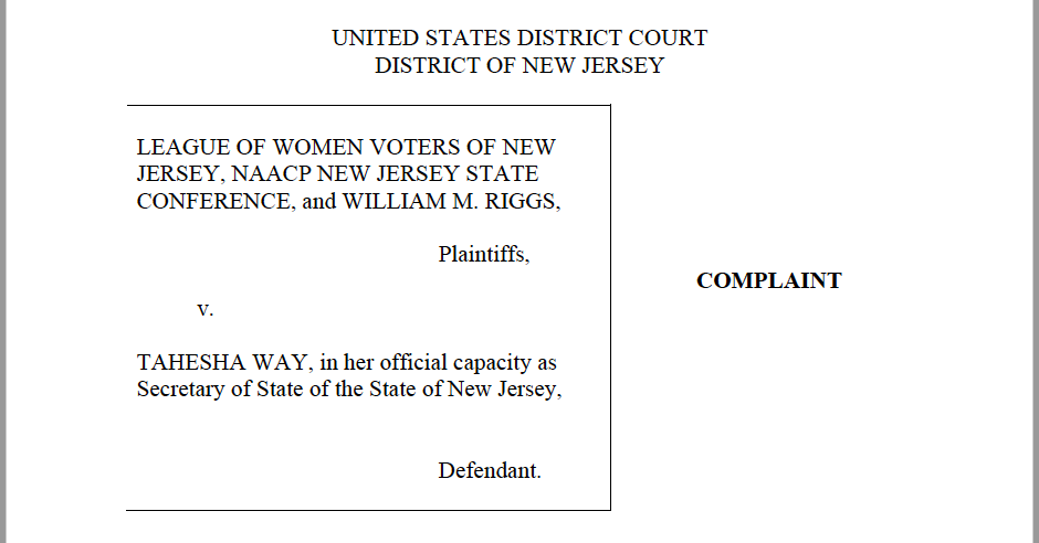 Read our lawsuit saying New Jersey must provide notice and opportunity to cure rejected mail-in ballots