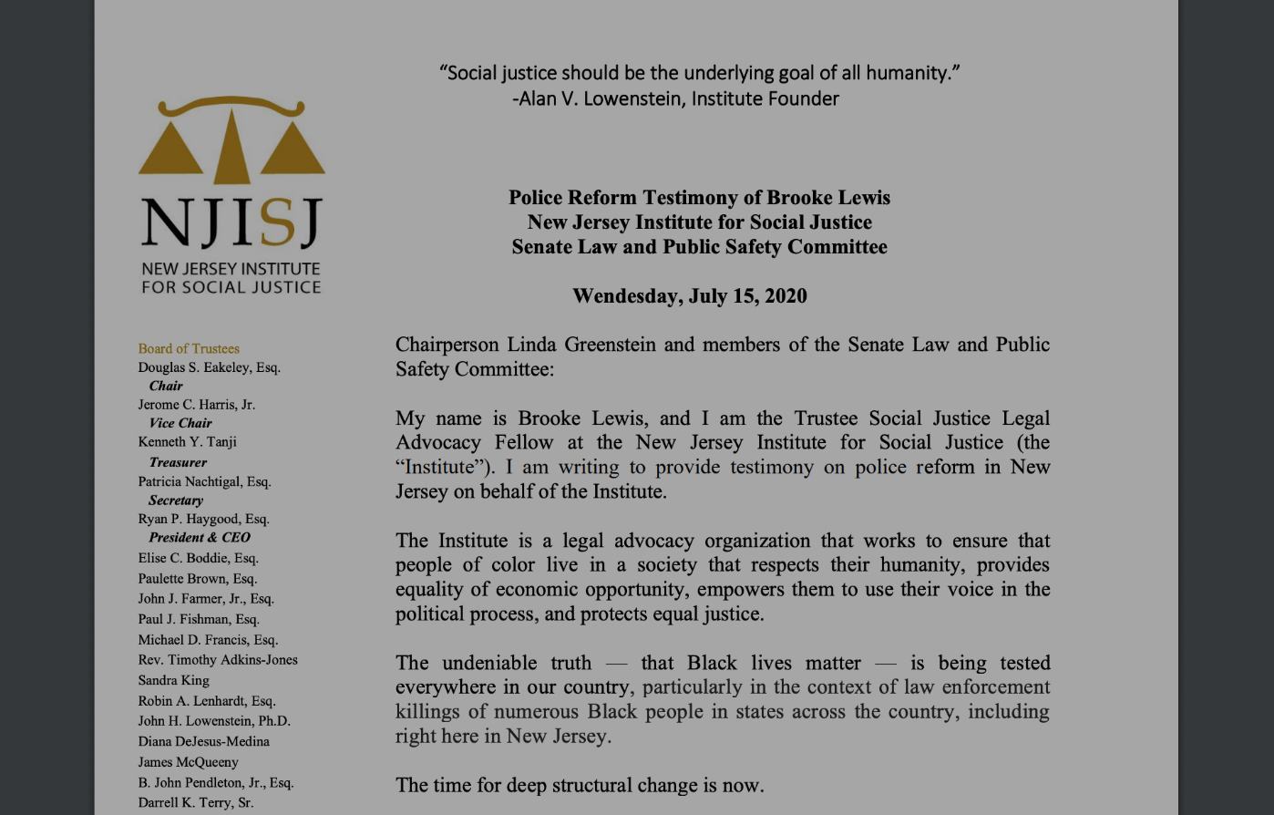 The Institute's Brooke Lewis delivered powerful testimony on Policing in New Jersey, Read it Here