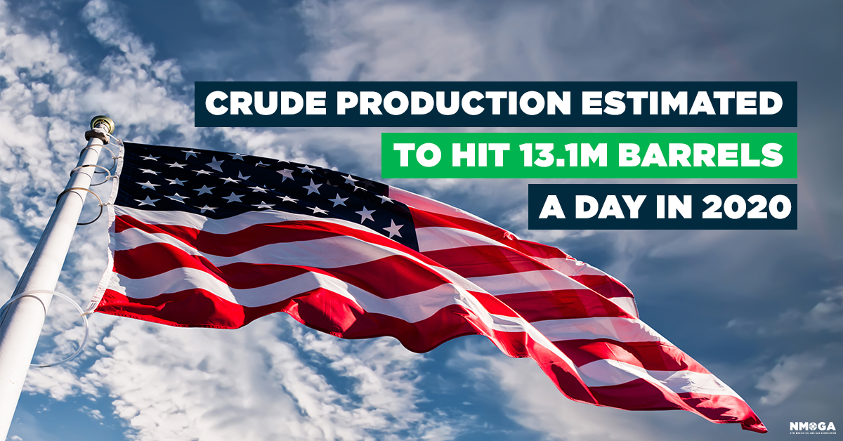 US predicts that crude production will rise to 13.1M barrels a day in 2020