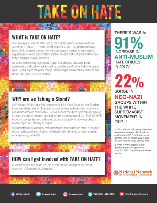 Click on the image to download the TAKE ON HATE One Pager (English/Arabic)