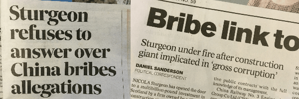 Sturgeon refuses to answer over China bribes allegations