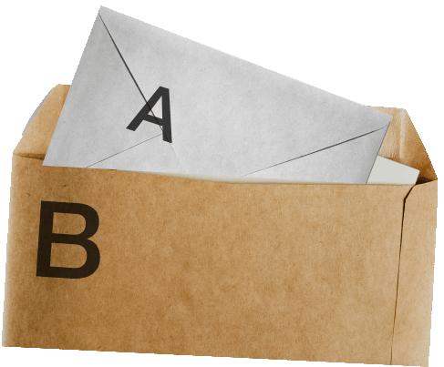Then place envelope A & the declaration inside Envelope B