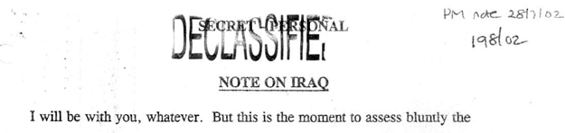 Tony Blair's memo to George Bush