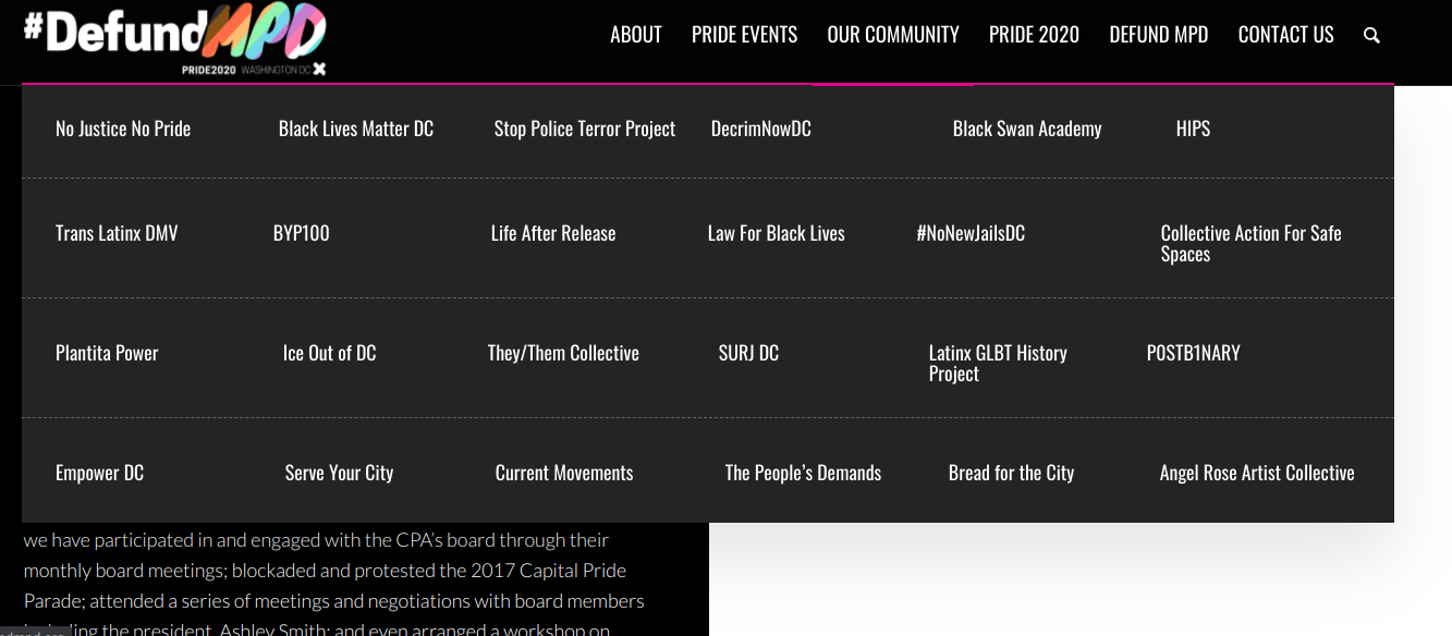 A screenshot of a website NJNP created as spoof of Capital Pride Alliance's website.