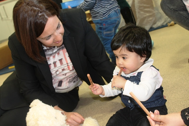 Kezia Dugdale with Eilsa at Sure Start West Children's Centre
