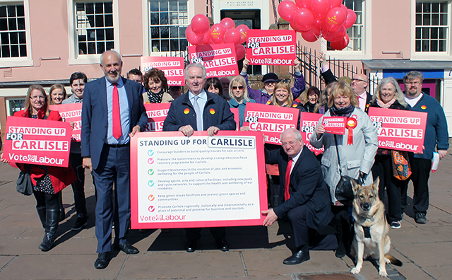 Jon Trickett MP, Shadow Communities & Local Government Secretary with Reg Watson, Labour candidate for Cumbria Police & Crime Commissioner and Cllr Colin Glover, Leader of Carlisle City Council together with supporters in Carlisle City Centre