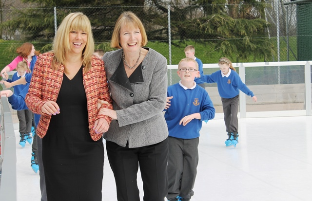 Harriet Harman and Lee Sherriff try out Carlisle's new ice rink