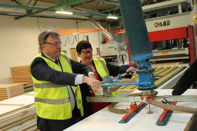 Louise Baldock and Ed Balls at Cotswold Engineering