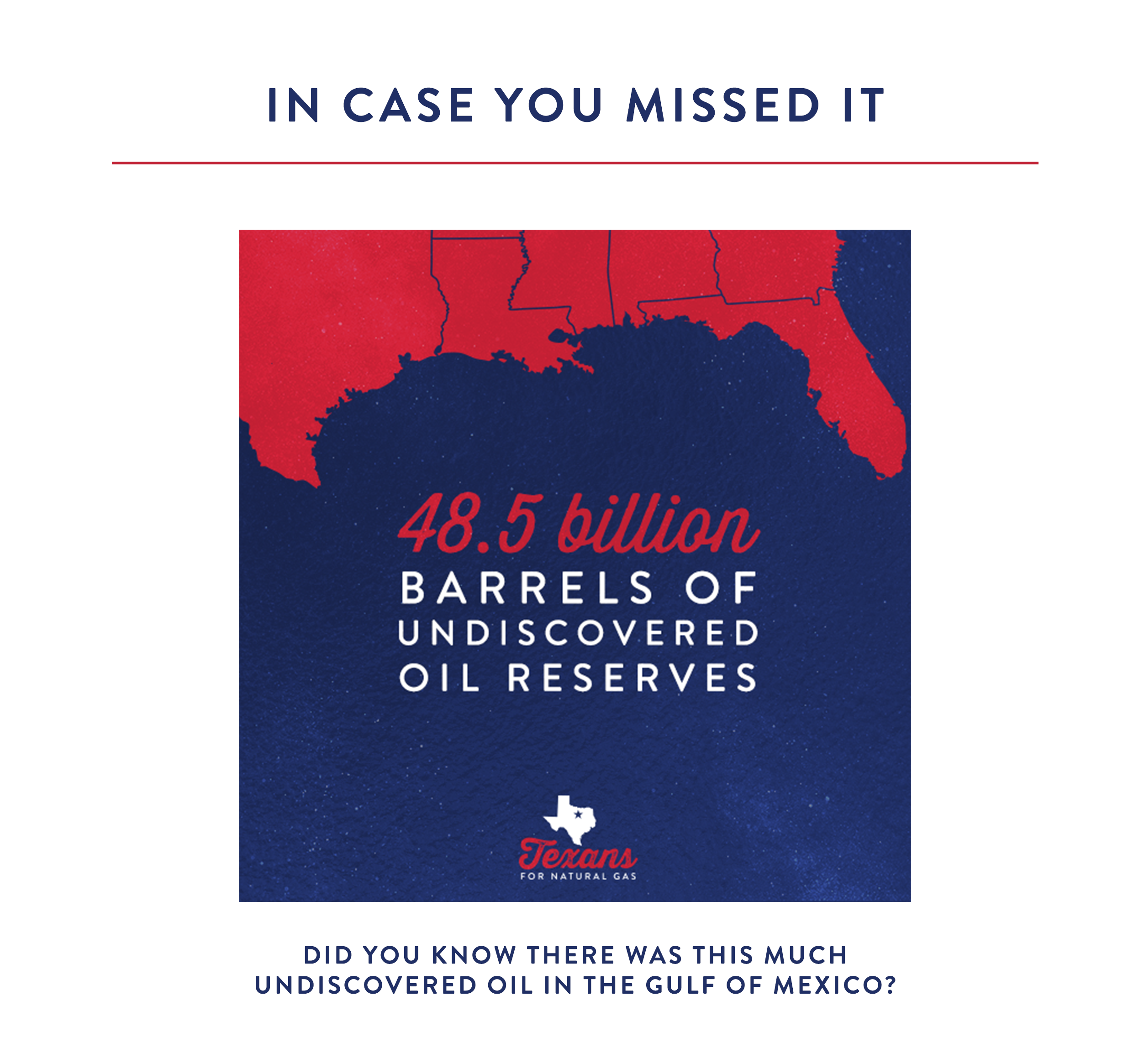 It's estimated that there are 48.5 billion barrels of undiscovered oil in the Gulf Coast alone.