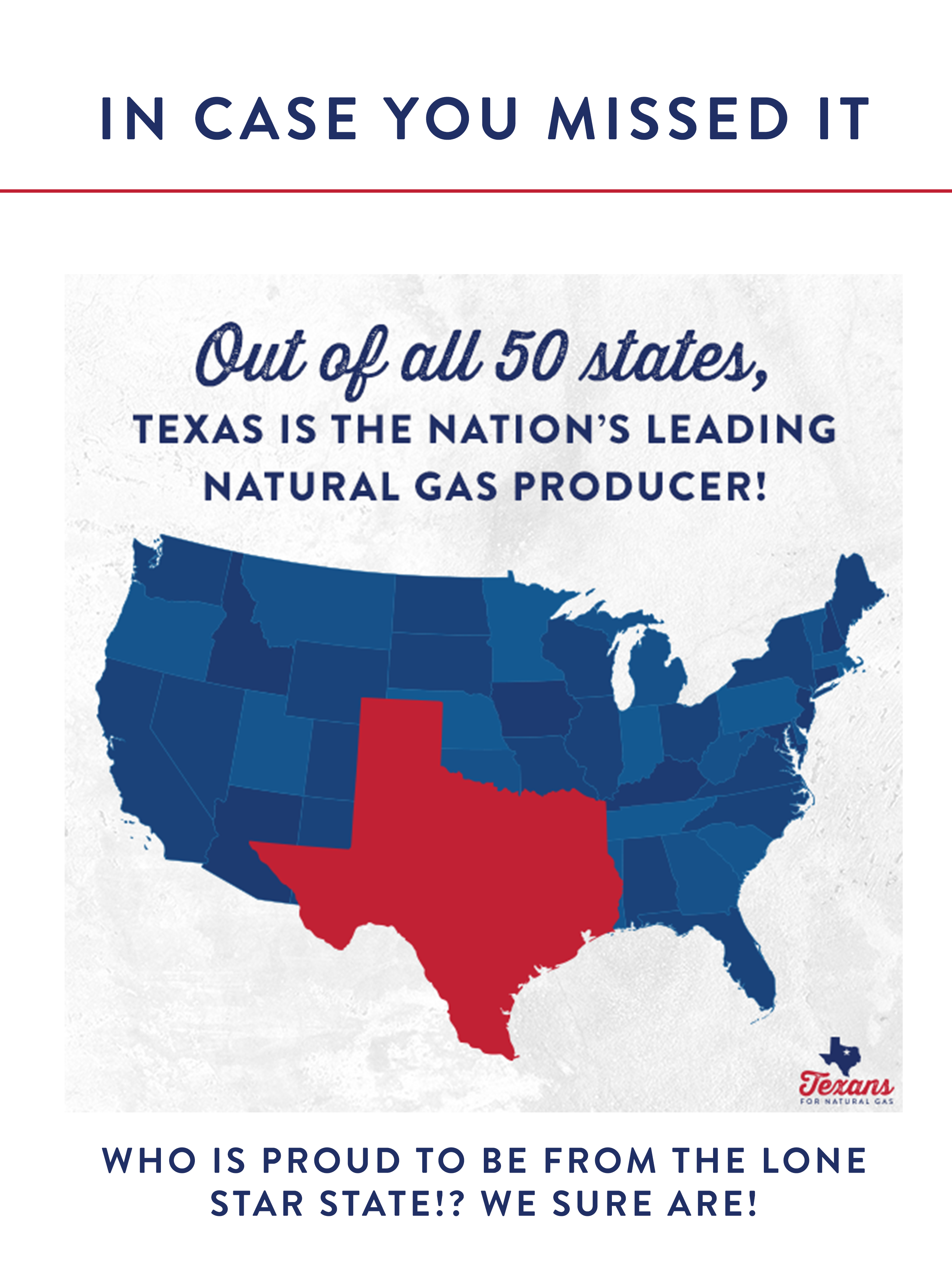 Texas is the top producer of oil and gas!