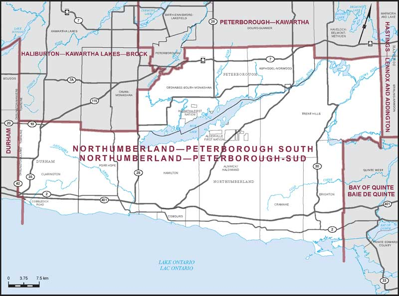 Northumberland-Peterborough South Riding Map