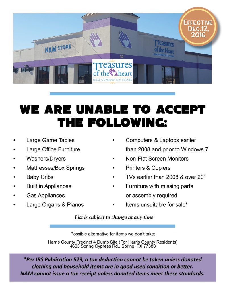 Northwest Assistance Ministries Announces Unaccepted Items List for its Resale Store