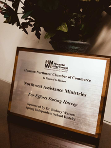 NORTHWEST ASSISTANCE MINISTRIES RECEIVES AWARD FOR HARVEY RELIEF EFFORTS