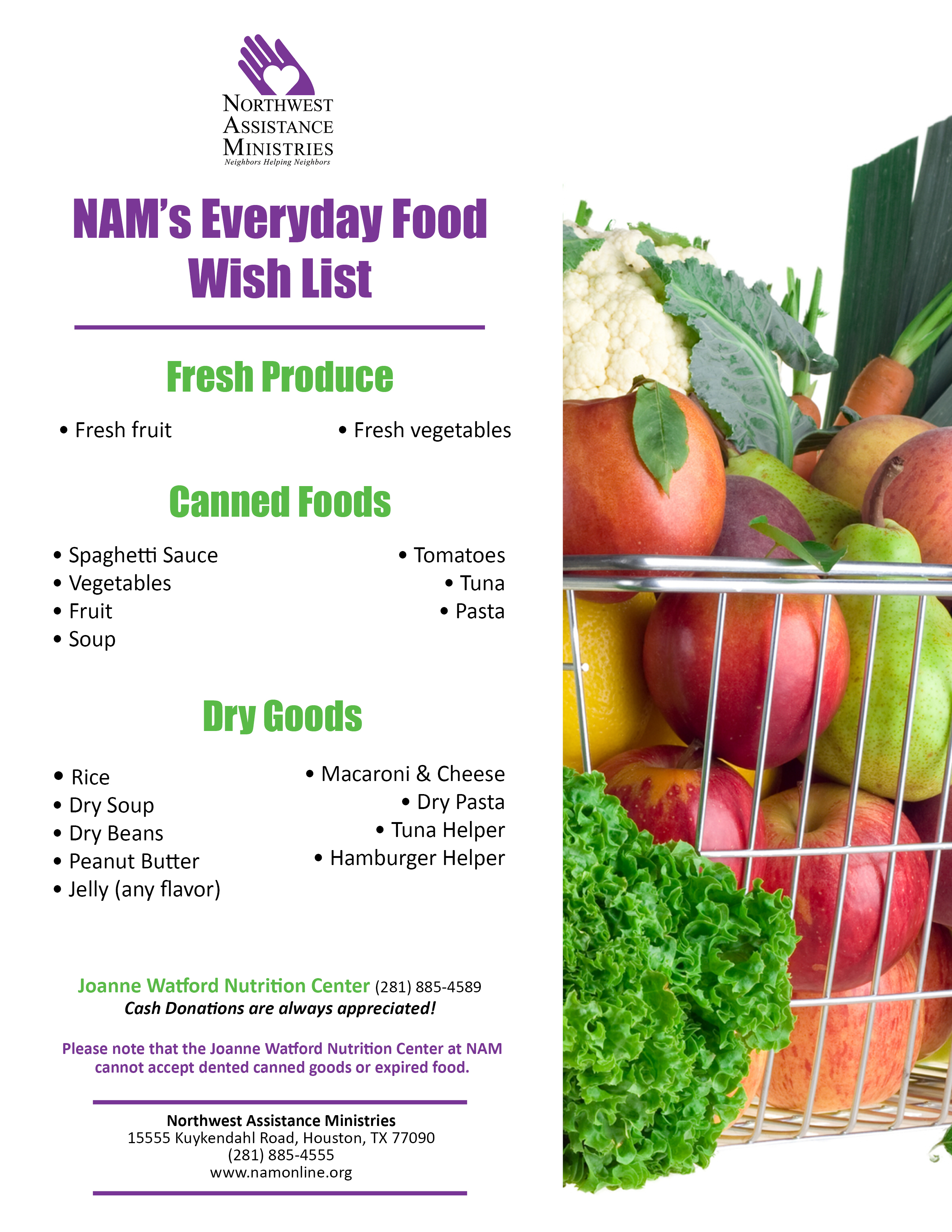 JWNC Daily Needs Food Wish List