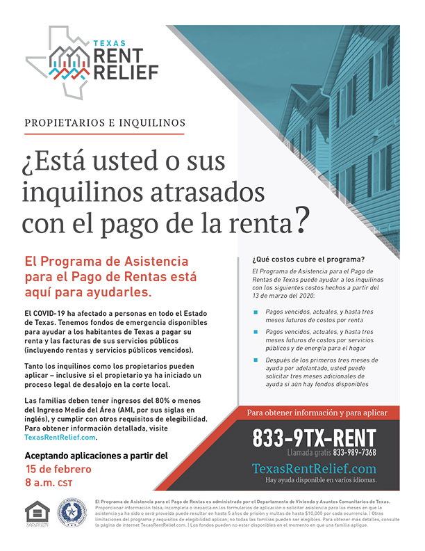 TDHCA Rent Relief - Spanish