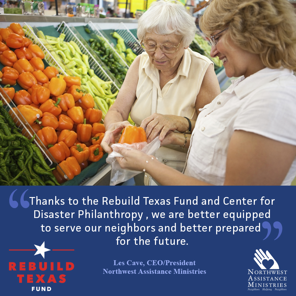 Northwest Assistance Ministries Announces Grant from Rebuild Texas Fund