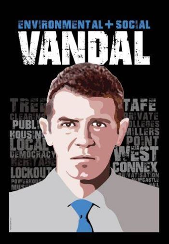 "Image of Premier Baird with the word 'Vandal"" above"