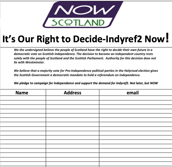 Download Petition - It's Our Right to Decide - Indyref2 NOW!