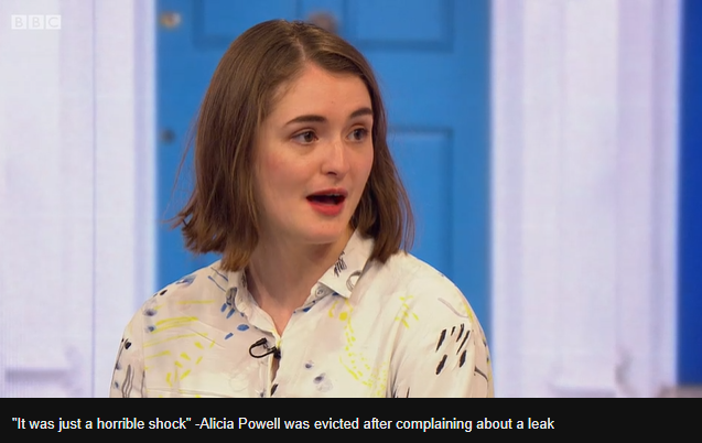image of woman being interviewed on the bbc with the caption: 'It was just a horrible shock' -Alicia Powell was evicted after complaining about a leak