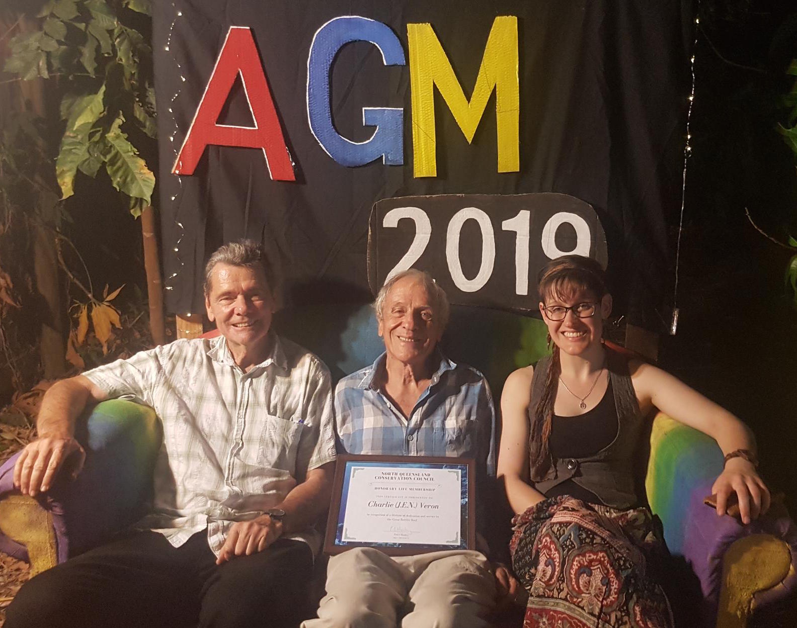 Peter, Charlie and Crystal on Rainbow Couch at AGM