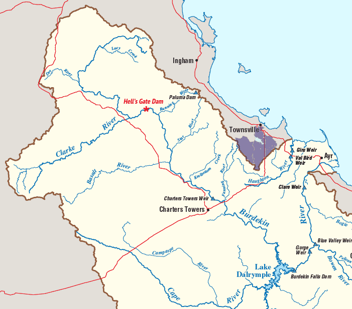Hells Gate and Burdekin Dams on map