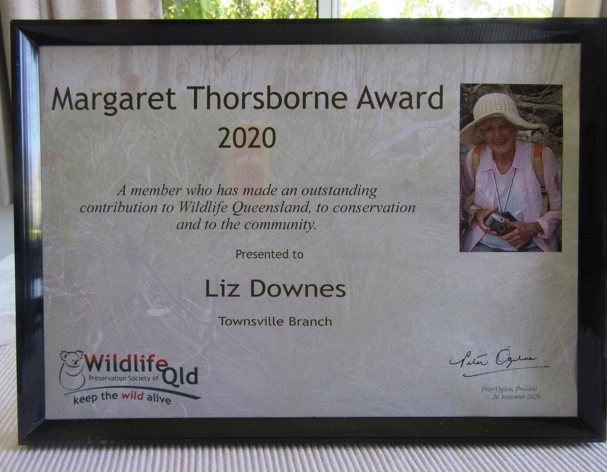 Margaret Thorsborne Award