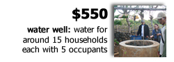 $550 provides a water well, supplying around 15 households each with 5 occupants