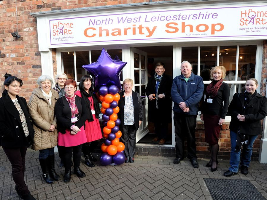 Andrew Bridgen MP officially opens the Home-Start North West Leicestershire new charity shop in Ashby