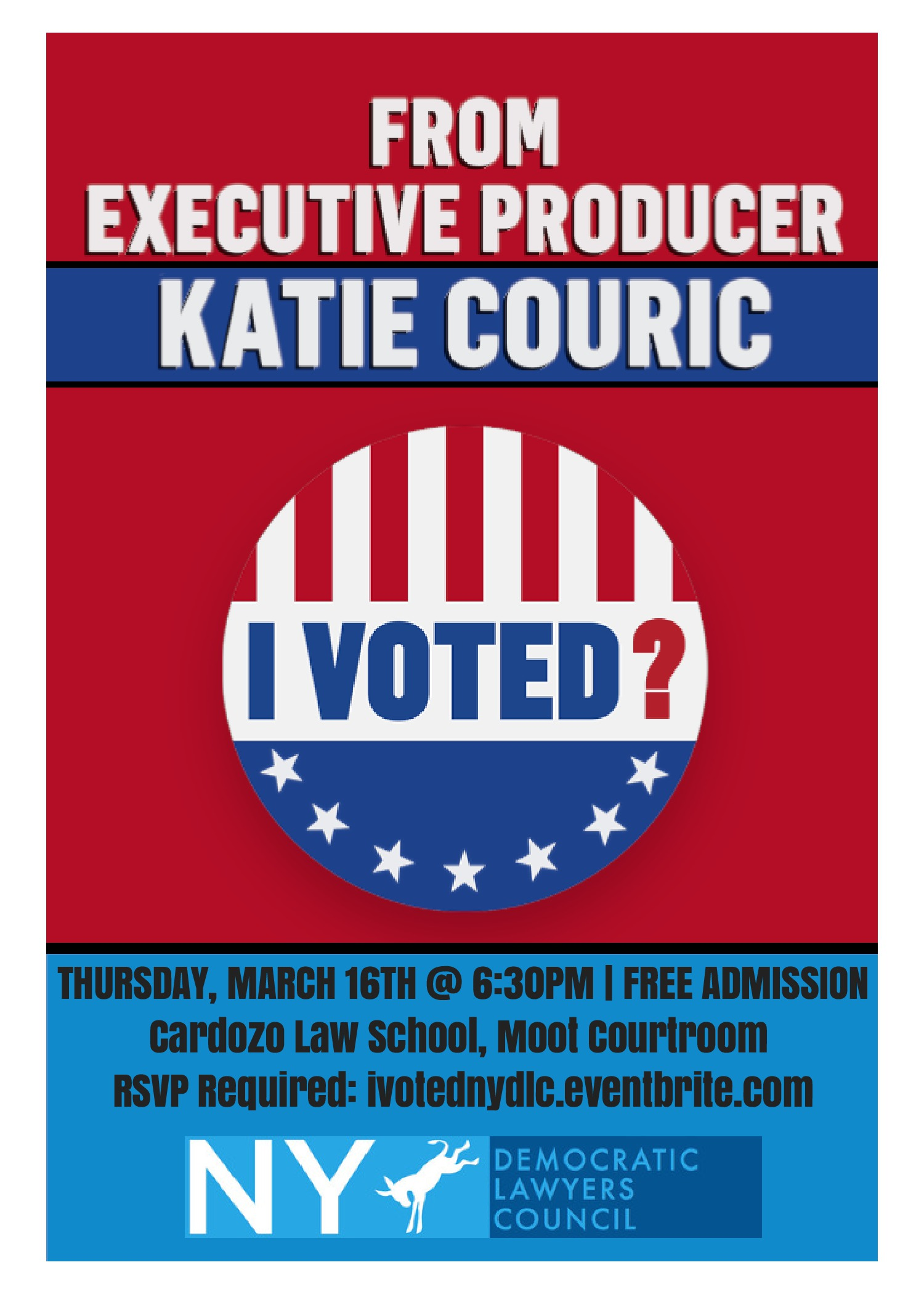 3/16: I Voted? NYDLC flyer