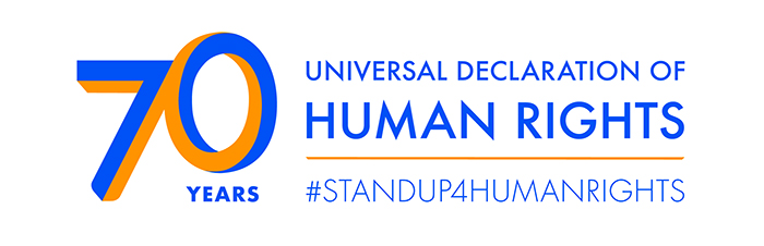 Image says: '70 years of Universal Declaration of Human Rights #StandUp4HumanRights