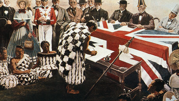 Image of a painting of the sign of the Treaty of Waitangi