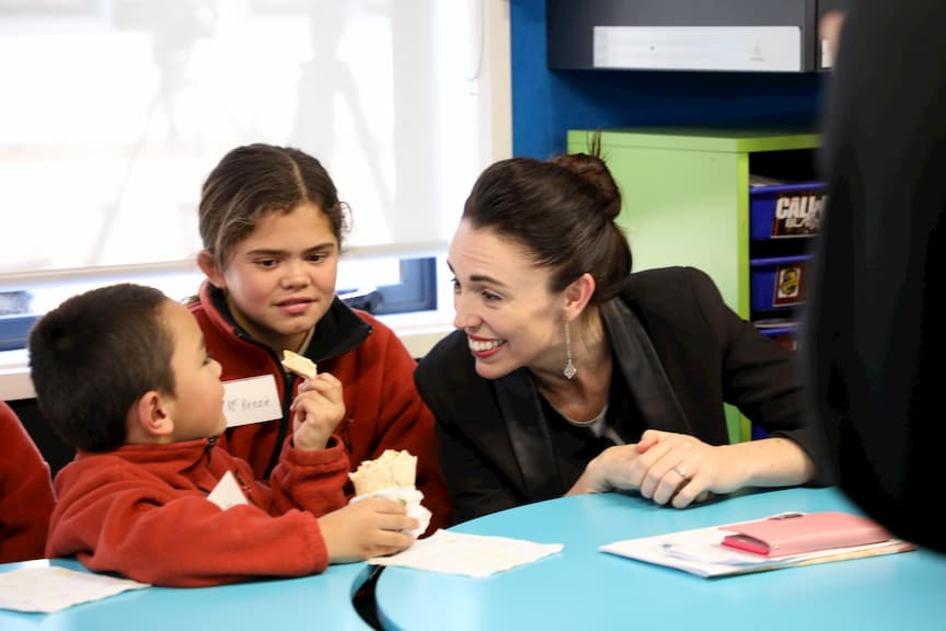 The Prime Minister with some children at the launch of the Child Wellbeing Strategy - which included the lunches in schools programme - in Rotorua.