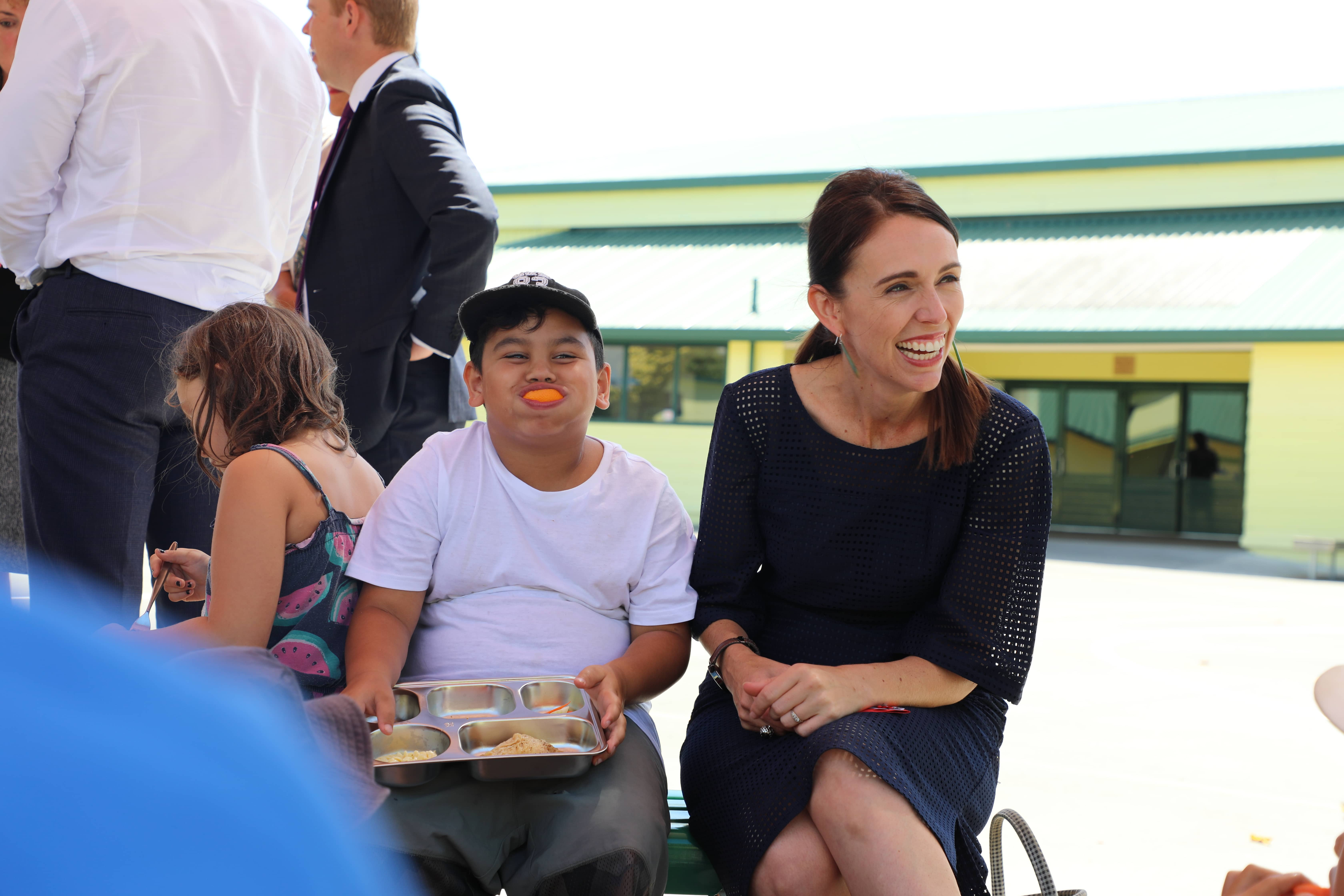 Jacinda Ardern meets with students at Flaxmere School