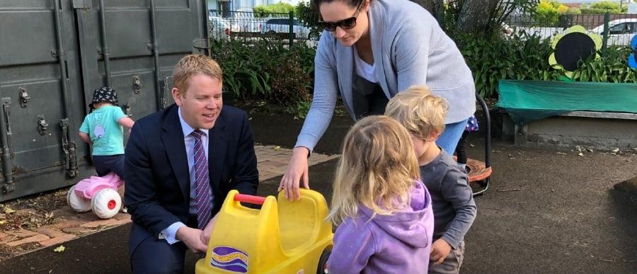 Minister Chris Hipkins and kids